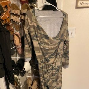 Camo jumpsuit worn once from fashion nova